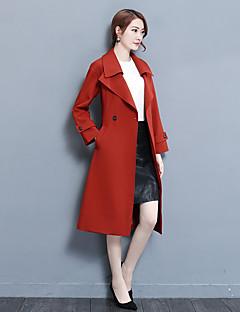 Feminino Casaco Longo Casual Simples Outono Inverno,Sólido Longo Poliéster Colarinho de Camisa Manga Longa