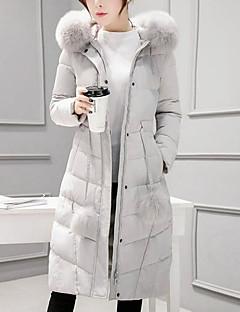 Damen Gefüttert Mantel Einfach Ausgehen Solide-Baumwolle Polypropylen Langarm