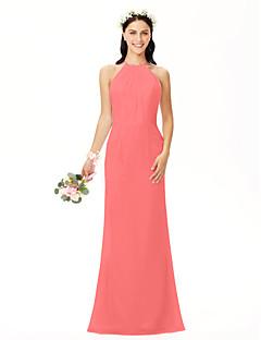 billige Romantisk rosa-Tube / kolonne Besmykket Gulvlang Chiffon Brudepikekjole med Plissert av LAN TING BRIDE®