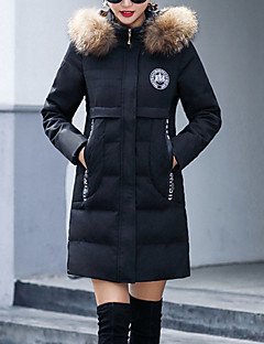 Women's Regular Padded Coat,Street chic Going out Solid-Polyester Raccoon Fur Polypropylene Long Sleeves