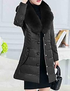 Damen Daunen Mantel Einfach Ausgehen Lässig/Alltäglich Solide-Fuchsfell Polyester Langarm