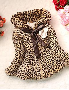 billige Jakker og frakker til piger-Pige dun- og bomuldsforet Leopard, Bomuld Langærmet Kakifarvet