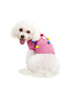 billiga Hundkläder-Katt Hund Tröjor Hundkläder Prickig Grå Rosa Chinlon Kostym För husdjur Ledigt/vardag Håller värmen