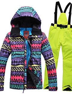 Dames Ski-jack & broek Warm Winddicht Draagbaar Antistatisch Ademend Skiën Wandelen Langlauf PU Leder