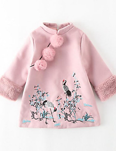 Girl's Daily Going out Patchwork Embroidered Dress,Polyester Winter Fall Long Sleeves Chinoiserie Blushing Pink