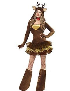 billige julen Kostymer-Ferie Dyremønster julenissen Drakter Kvinnelig Jul Maskerade Festival / høytid Halloween-kostymer kaffe Ensfarget Ferie