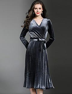 Γυναικείο Πάρτι Wear to work Σέξι Γραμμή Α Φαρδιά Φόρεμα,Μονόχρωμο Μακρύ Μανίκι Λαιμόκοψη V Ως το Γόνατο Πολυεστέρας Spandex