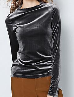 abordables Hauts pour Femme-Tee-shirt Femme, Couleur Pleine Chic de Rue Col Roulé