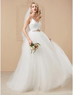 billiga Plusstorlek brudklänningar-Balklänning Smala axelband Hovsläp Satäng / Tyll Bröllopsklänningar tillverkade med Bård / Kristalldetaljer av LAN TING BRIDE®