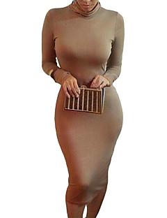 halpa -Naiset Tuppi Mekko Seksikäs Party,Yhtenäinen Poolokaulus Midi Pitkä hiha Polyesteri Spandex Kevät Syksy Keski vyötärö strenchy Ohut
