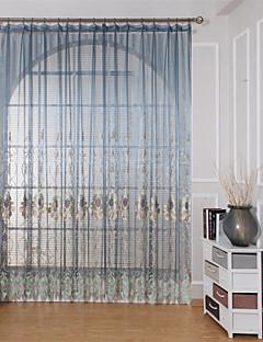billige Gjennomsiktige gardiner-Stanglomme Propp Topp Fane Top Dobbelt Plissert Window Treatment Fritid Moderne Midlertidig Geometrisk Soverom Polyesterblanding Materiale