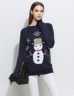 Kadın Günlük Giyim Normal Kazak Solid Desen,Uzun Kollu Yuvarlak Yaka Pamuklu Kış Sonbahar Opak Mikro-Esnek
