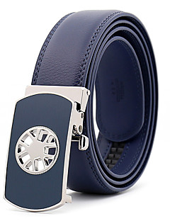 Men's Leather Alloy Waist Belt,Royal Blue Black Brown Party Work Casual Solid Metal Pure Color