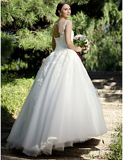 billiga Brudklänningar-Balklänning Illusion Halsband Golvlång Tyll / Spets på tyll Bröllopsklänningar tillverkade med Applikationsbroderi / Spets av LAN TING