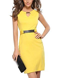 Χαμηλού Κόστους Επαγγελματικά Φορέματα-Γυναικεία Μεγάλα Μεγέθη Εξόδου Λεπτό Εφαρμοστό Φόρεμα - Μονόχρωμο Ως το Γόνατο Λαιμόκοψη V