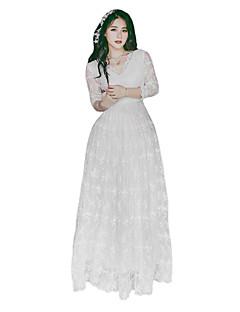 billiga Lolitaklänningar-Prinsessa Klassisk / Traditionell Lolita Elegant Vintage-inspirerad Spets Dam Klänningar Cosplay Vit Blommig Ankellång Kostymer