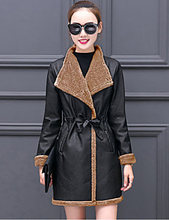Women's Going out Plus Size Street chic Winter Fall Leather Jacket,Solid Color Block Shirt Collar Long Sleeves Regular PU Polyester
