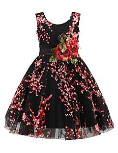 Menina de Vestido Para Noite Casual Sólido Floral Flor Primavera/Outono/Inverno/Verão Todas as Estações Algodão Poliéster Sem Manga