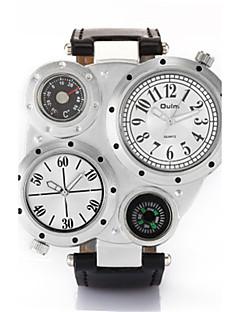 billige Læder-Herre Quartz Armbåndsur Japansk Vandafvisende / Termometer / Selvlysende i mørke / Kompas Læder Bånd Afslappet