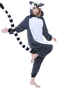 billige Kigurumi-Voksne Kigurumi-pysjamas Ape Lemur Onesie-pysjamas Polar Fleece Syntetisk Fiber Grå Cosplay Til Damer og Herrer Pysjamas med dyremotiv Tegnefilm Halloween Festival / høytid