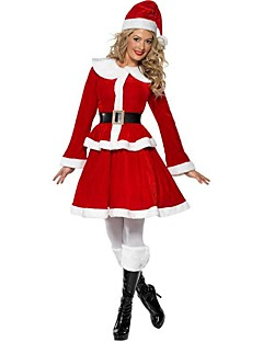 Holiday Santa Claus Outfits Female Christmas Festival/Holiday Halloween Costumes Red Solid