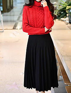 cheap Women's Skirts-Women's Event/Party Street Long Length Skirts, Vintage Casual Skirt Swing Wool Polyester Solid Winter Autumn/Fall
