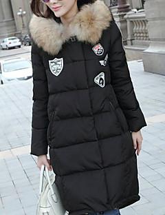 billige Overtøj til damer-Dame I-byen-tøj Aktiv Bomuld Dynejakke - Ensfarvet Stribet, Trykt mønster