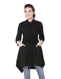 Damen Solide Street Schick Ausgehen Lässig/Alltäglich Hemd,Hemdkragen Frühling/Herbst Langarm Baumwolle Dünn