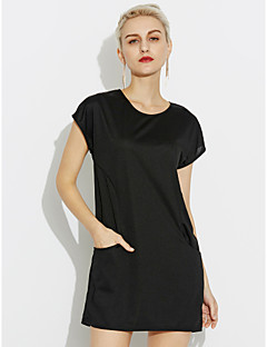 Women's Casual/Daily Sexy Loose Dress,Solid Color Round Neck Above Knee, Mini Short Sleeves N/A Summer Mid Rise Inelastic Medium