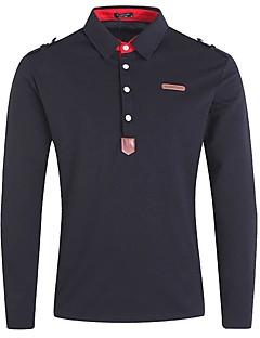 Bomull Akryl Polyester Medium Langermet,Opprett krage Polo Ensfarget Høst Vinter Vintage Fritid/hverdag Arbeid Herre
