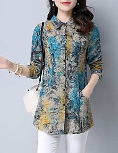 cheap Women's Shirts-Women's Street chic Plus Size Shirt Print Shirt Collar