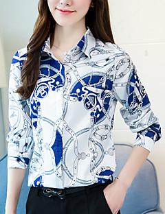 billiga Damöverdelar-Tryck Skjorta Dam Tröjkrage Polyester