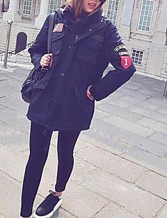 Χαμηλού Κόστους Γούνινο παλτό με κουκούλα-Γυναικεία Εξόδου Εκλεπτυσμένο Ενισχυμένο - Συνδυασμός Χρωμάτων