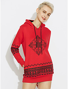 cheap Women's Fashion & Clothing-Women's Cotton Long Hoodie - Solid Colored, Print / Winter