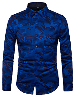 Men's Daily Street chic Shirt,Print Shirt Collar Long Sleeves Polyester