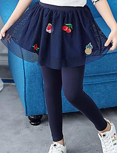 billige Bukser og leggings til piger-Pige Bukser Ensfarvet Broderi, Bomuld Polyester Forår Efterår Sødt Afslappet Aktiv Tegneserie Navyblå Grå