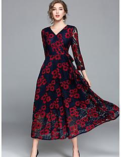 זול ביגוד נשים-לכל העונות פוליאסטר שרוול ארוך מקסי צווארון V פרחוני ליציאה יום יומי\קז'ואל שמלה נדן סווינג נשים,גיזרה בינונית (אמצע) קשיח דק