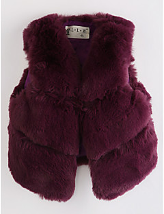 cheap Girls' Clothing-Girls' Solid Vest, Faux Fur Wine