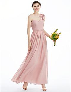 billige Romantisk rosa-A-linje / Prinsesse Kjære Ankellang Chiffon Brudepikekjole med Kronblader / Kryssdrapering / Plissert av LAN TING BRIDE®