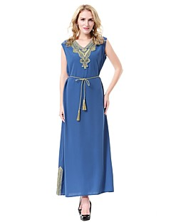 cheap Maternity Dresses-Women's Party Casual/Daily Simple Abaya Jalabiyah Kaftan Dress,Solid Jacquard V Neck Midi Sleeveless Wool Polyester Summer Mid Rise