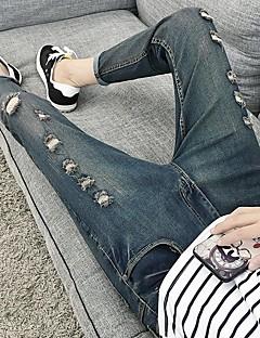 Herre Gatemote Mikroelastisk Jeans Bukser,Mellomhøyt liv Ensfarget