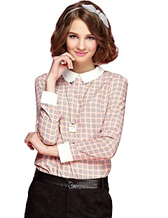 Women's Daily Wear Work Vintage Street chic All Seasons Shirt,Print Rivet Shirt Collar Long Sleeves Cotton Polyester