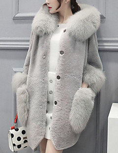 cheap Women's Furs & Leathers-Women's Plus Size Rabbit Fur Faux Fur Fur Coat - Solid