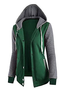 Women's Casual/Daily Hoodie Color Block Hooded Micro-elastic Cotton Long Sleeve Fall