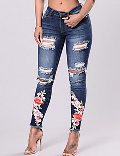 cheap Women's New Ins-Women's Vintage Skinny Skinny Jeans Pants - Floral Embroidered, Hole Ripped