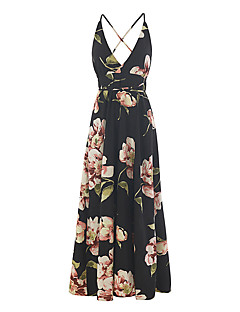 cheap Women's New Ins-Women's Daily Going out Casual Sexy Boho Sheath Dress,Floral Color Block Strap Maxi Sleeveless Polyester Spring Summer Mid Rise