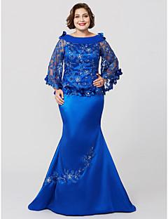 お買い得  マダムドレス-人魚/トランペットカウルネックスイープ/ブラシトレインレースチャーミングプラスサイズの母親の花嫁ドレスのランティン