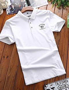 Polyester Kortermet,Skjortekrage T-skjorte Ensfarget Gatemote Ut på byen Herre