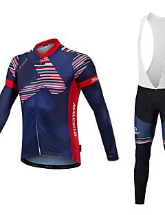 Malciklo Sykkeljersey med bib-tights Unisex Langermet Sykkel Jersey Tights Med Seler Sykkelklær Reflekterende Stripe Fort Tørring Hold