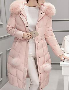 Damen Daunenjacke Mantel Einfach Lässig/Alltäglich Solide-Polyester Weiße Entendaunen Langarm
